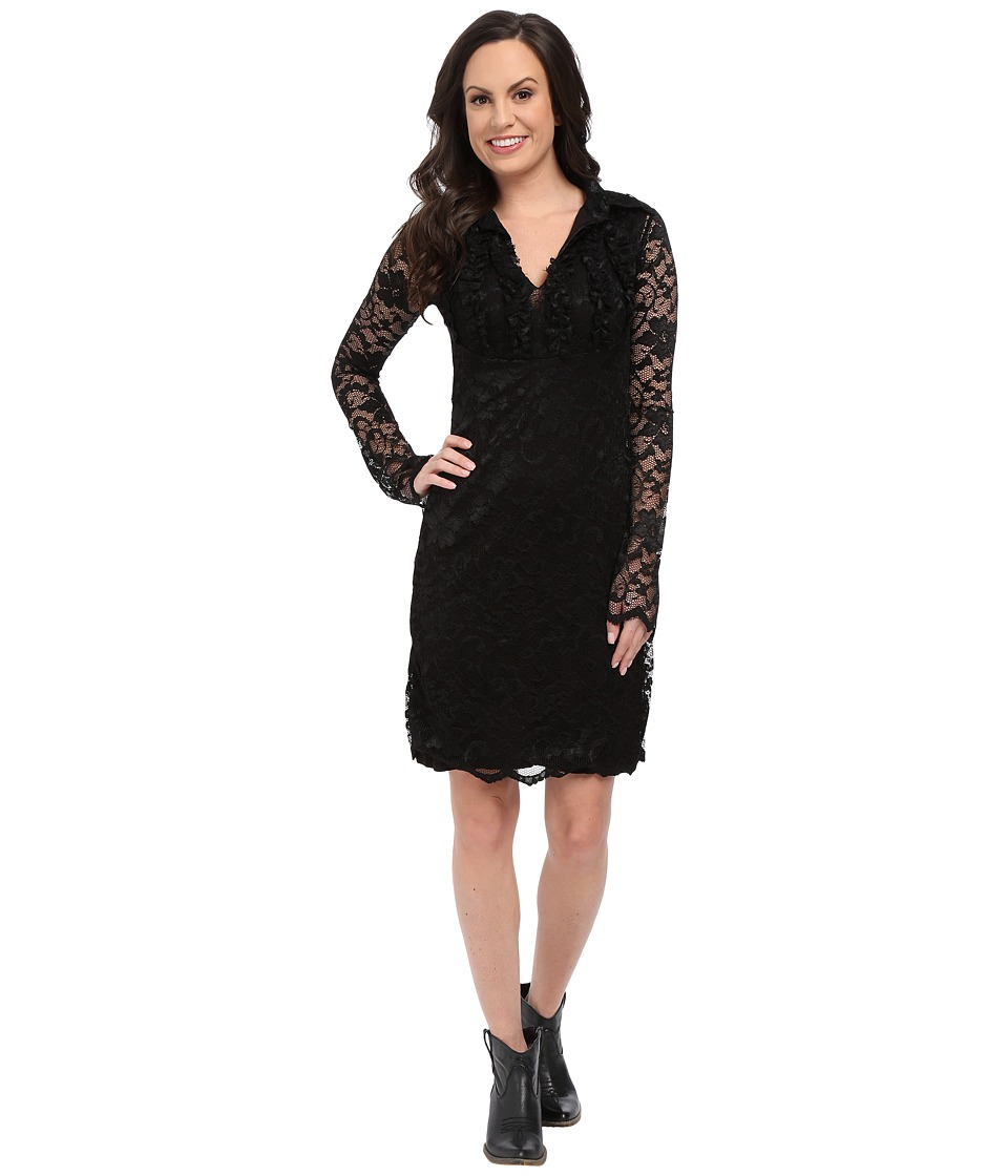 Stetson - Black Stretch Lace V-Neck Dress (Black) Women's Dress