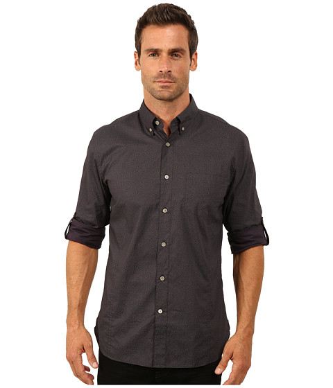 John Varvatos Star U.S.A. - Roll Up Sleeve Shirt w/ Button Down Collar, Single Pocket W387R3B (Aubergine) Men