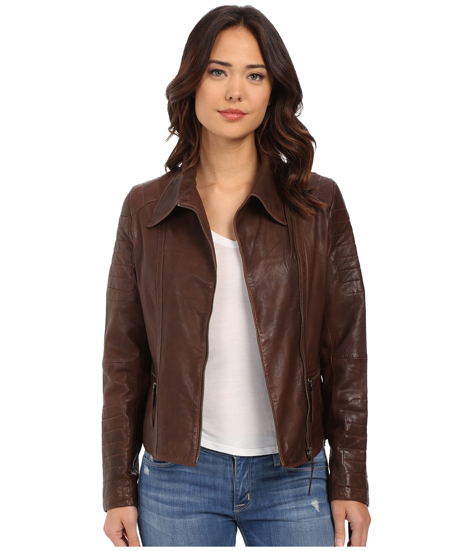 Stetson - Moto Style Leather Jacket (Brown) Women's Coat