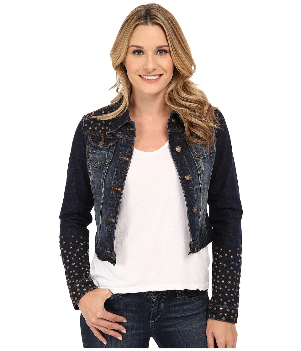 Stetson - Shruken Denim Jacket w/ Studs (Blue) Women's Jacket