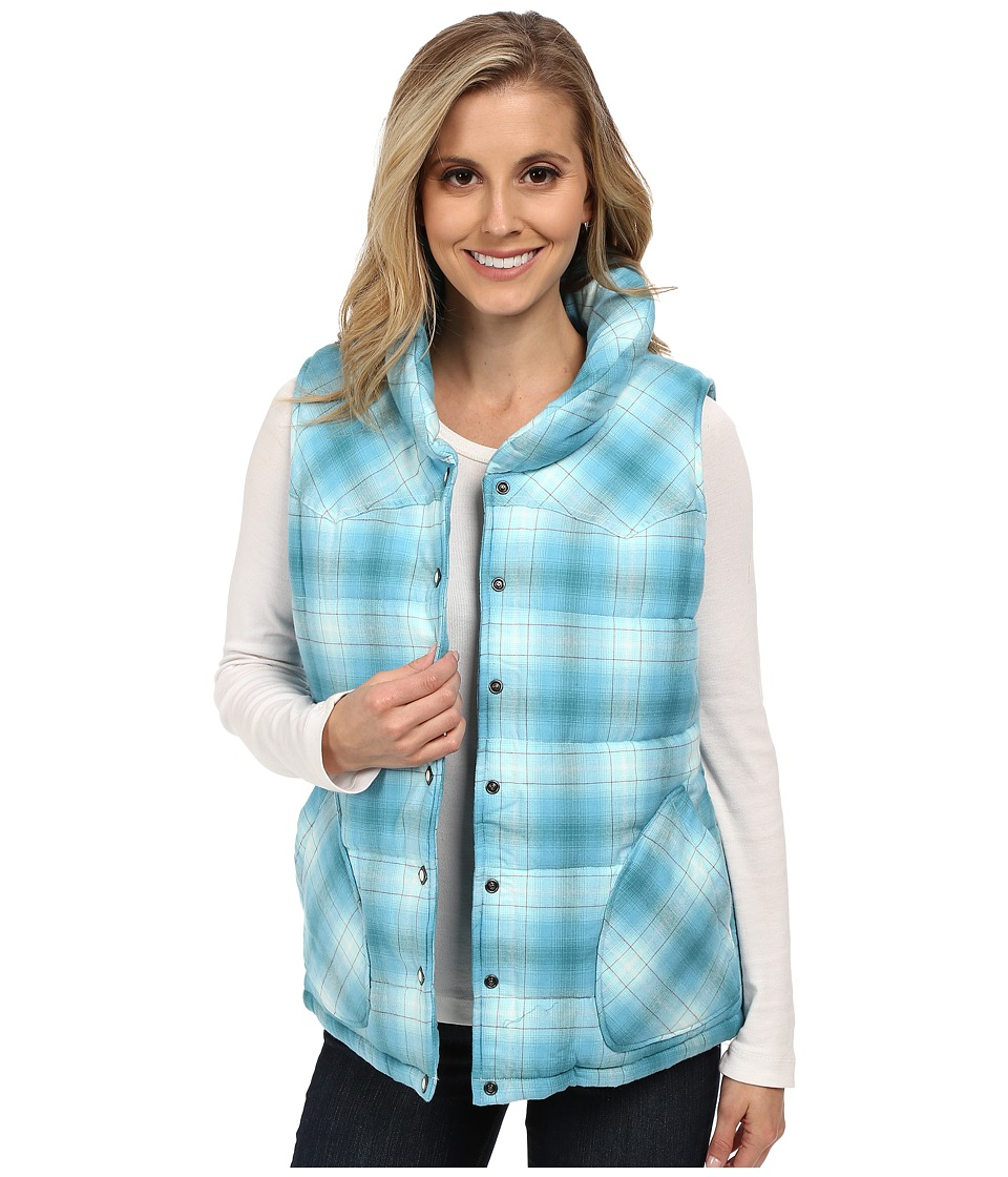 Stetson - Turquoise Plaid Quilted Vest (Blue) Women's Vest