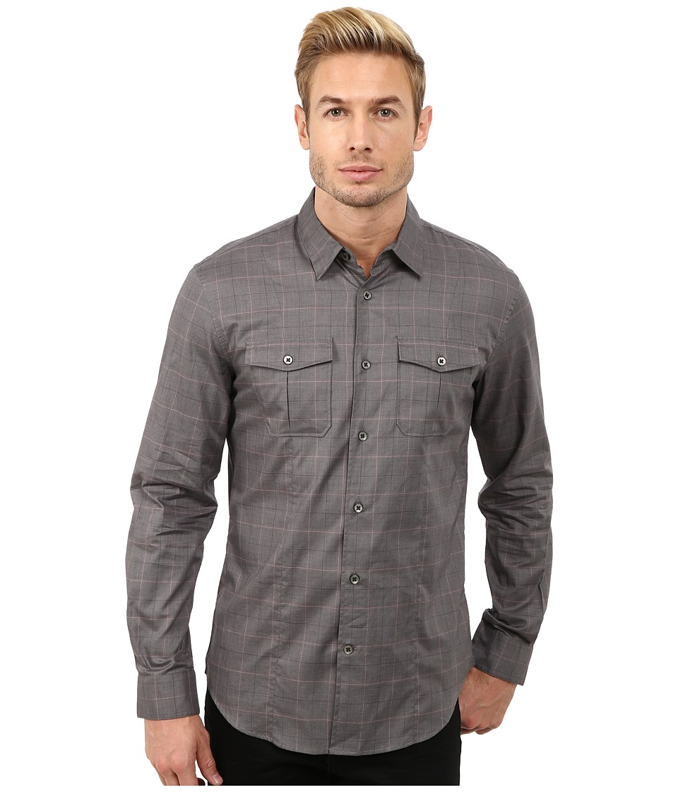 John Varvatos Star U.S.A. - Button Down Shirt w/ Peace Embroidery Sleeve Tabs W932R3L (Licorice) Men's Clothing