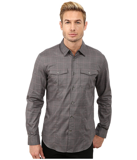 John Varvatos Star U.S.A. - Button Down Shirt w/ Peace Embroidery Sleeve Tabs W932R3L (Licorice) Men