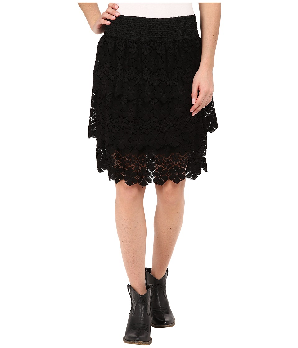 Stetson - 3 Tier Lace Skirt (Black) Women's Skirt