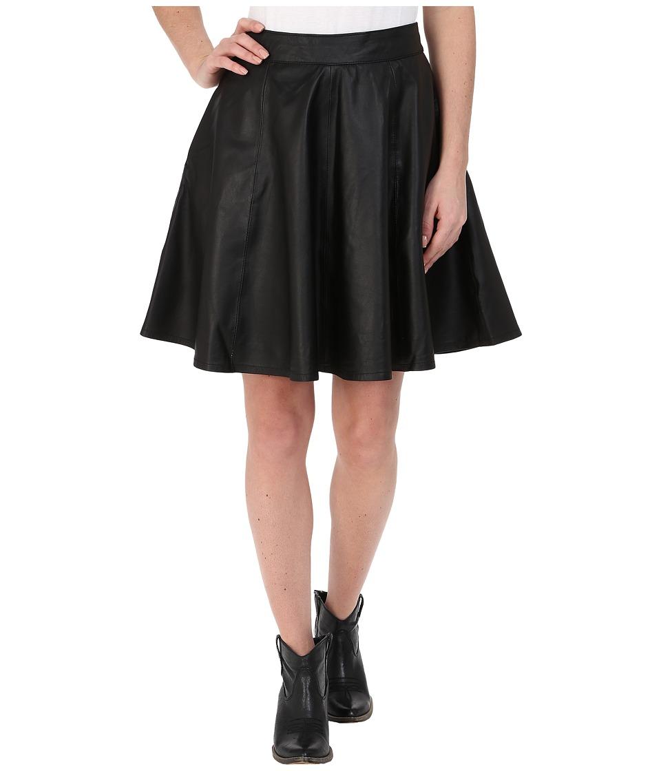 Stetson - Black Lamb Leather Circle Skirt (Black) Women's Skirt