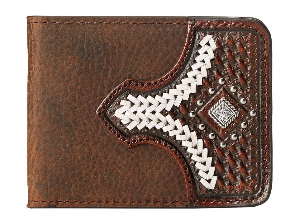 M&F Western - Diamond Concho Contrast Stitch Bi-Fold Wallet (Brown) Wallet Handbags