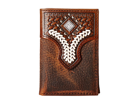 M&F Western - Diamond Concho Contrast Stitch Tri-Fold Wallet (Brown) Wallet Handbags