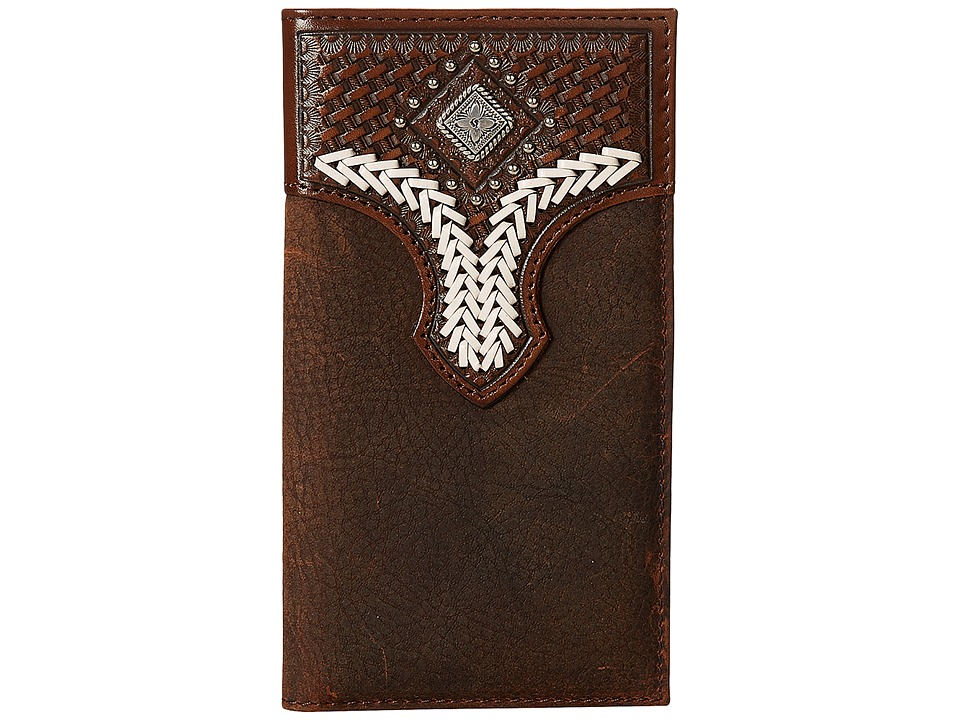 M&F Western - Diamond Concho Contrast Stitch Rodeo Wallet (Brown) Wallet Handbags