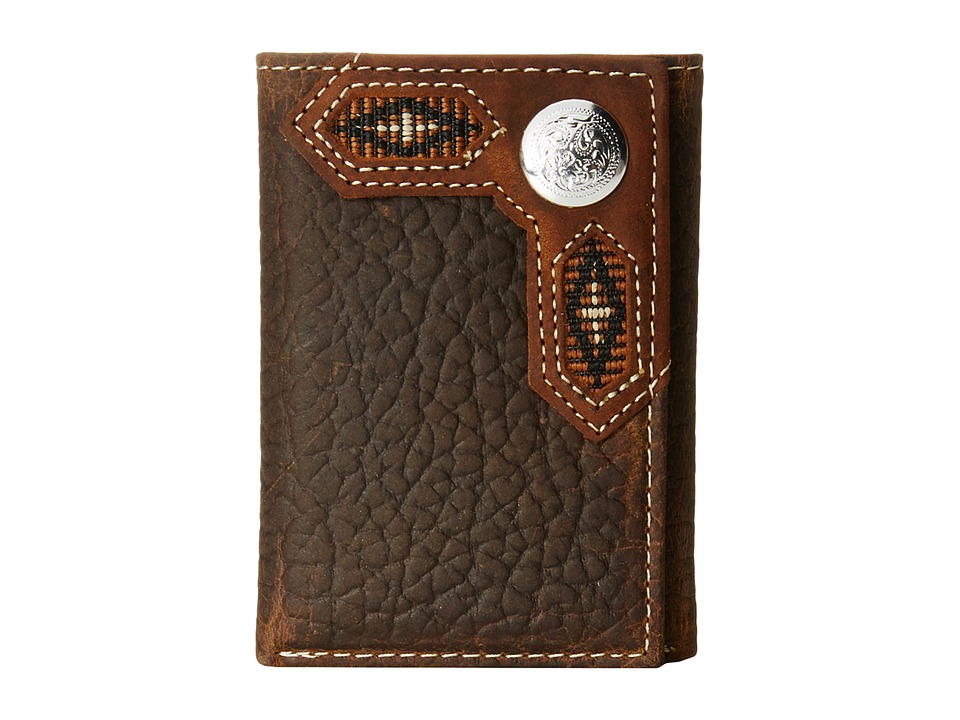 M&F Western - Ribbon Inlay Concho Tri-Fold Wallet (Brown) Wallet Handbags