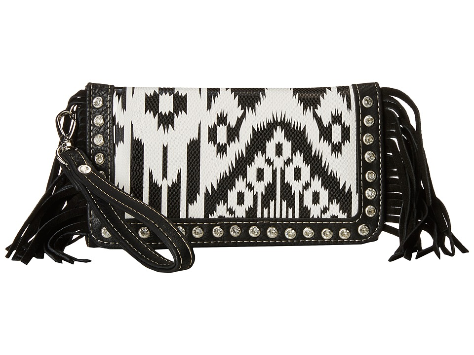 M&F Western - Aztec Fringe Wristlet Wallet (Black/White) Wallet Handbags