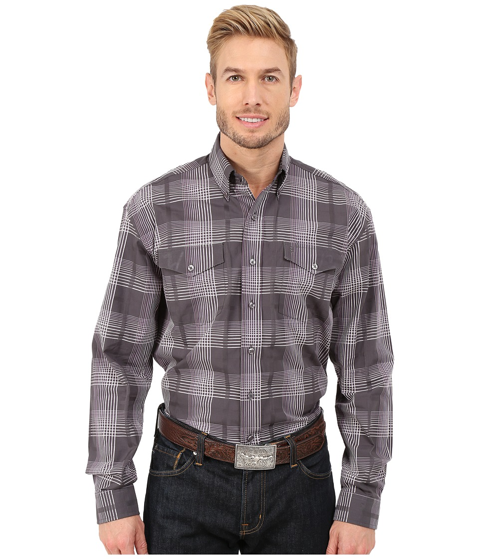 Stetson - All Saints Plaid (Grey) Men's Long Sleeve Button Up