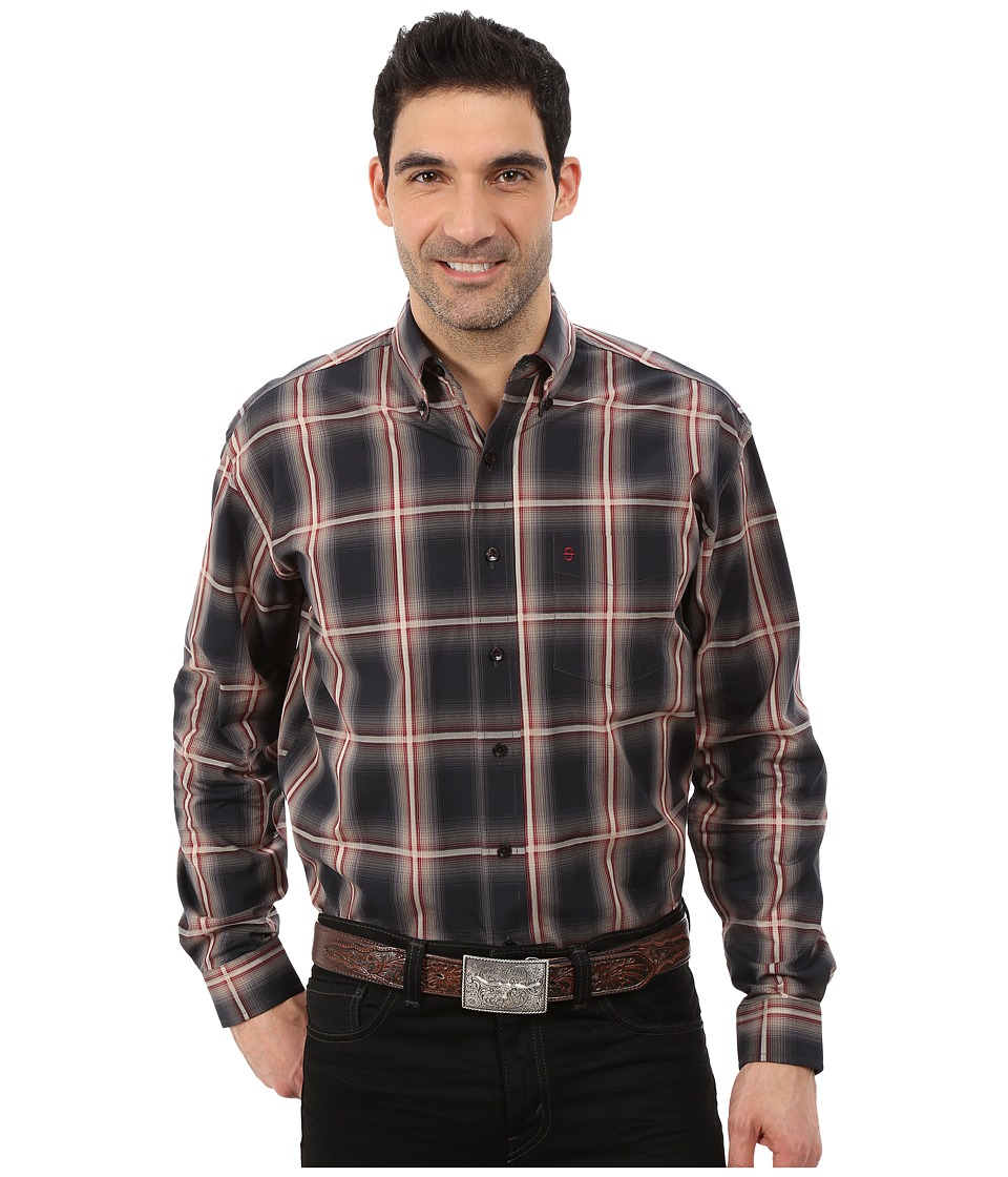 Stetson - Iron Ombre Plaid (Grey) Men's Clothing