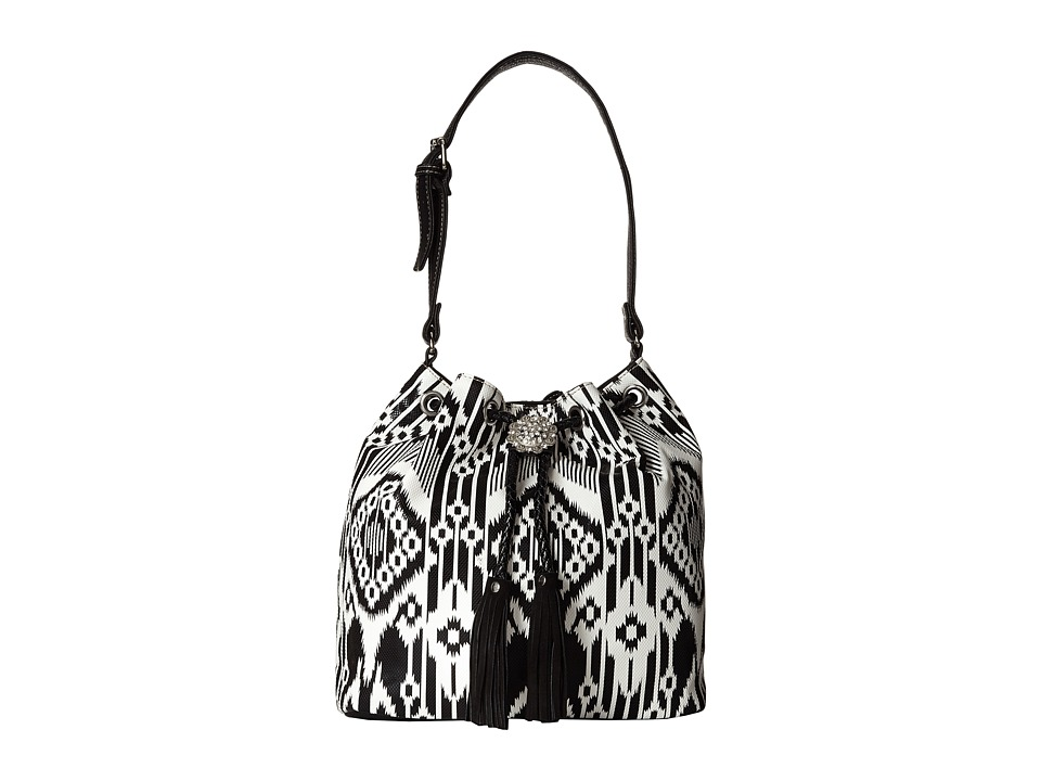 M&F Western - Aztec Fringe Bucket Bag (Black/White) Handbags