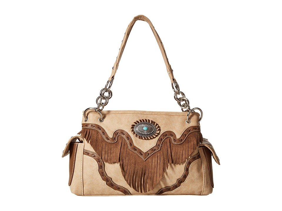M&F Western - Concho Fringe Satchel (Tan) Satchel Handbags