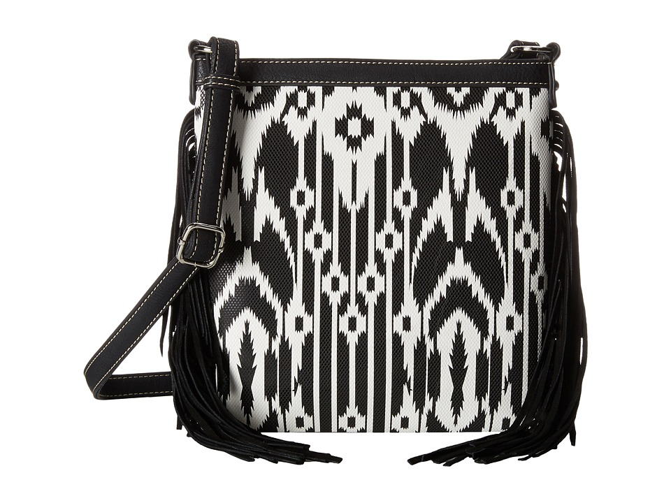 M&F Western - Aztec Fringe Messenger Bag (Black/White) Messenger Bags