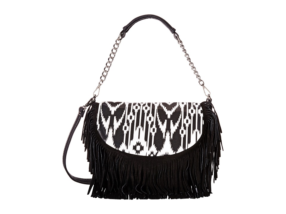 M&F Western - Aztec Fringe Shoulder Bag (Black/White) Shoulder Handbags