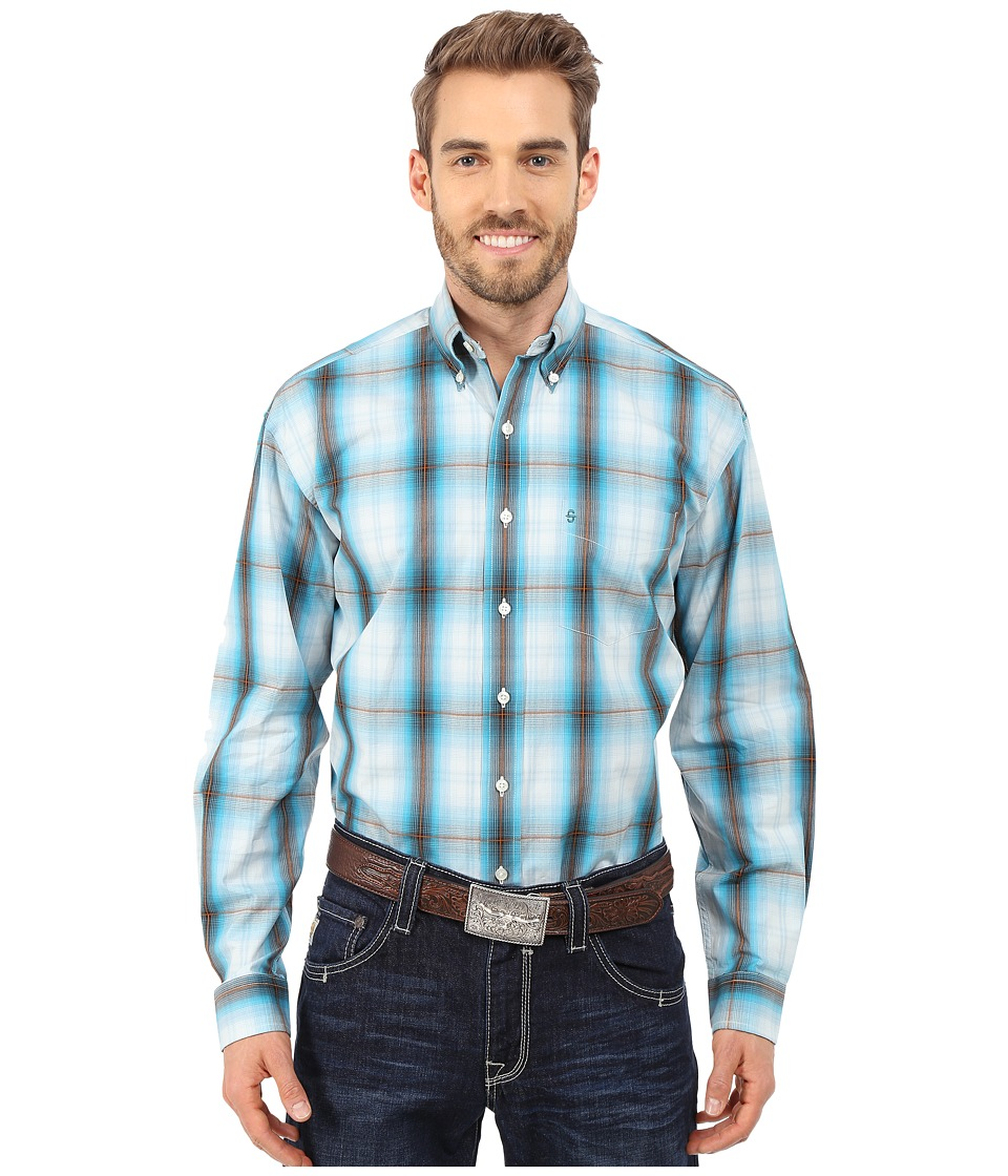 Stetson - Hunter's Plaid (Blue) Men's Long Sleeve Button Up