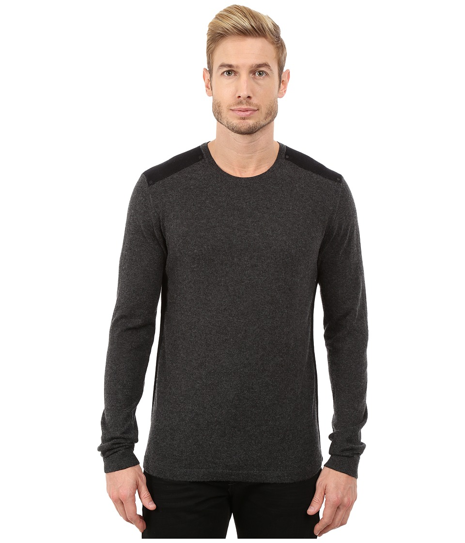 John Varvatos Star U.S.A. - Long Sleeve Crew Sweater with Tonal Rivet Patches Y1187R3B (Charcoal Heather) Men