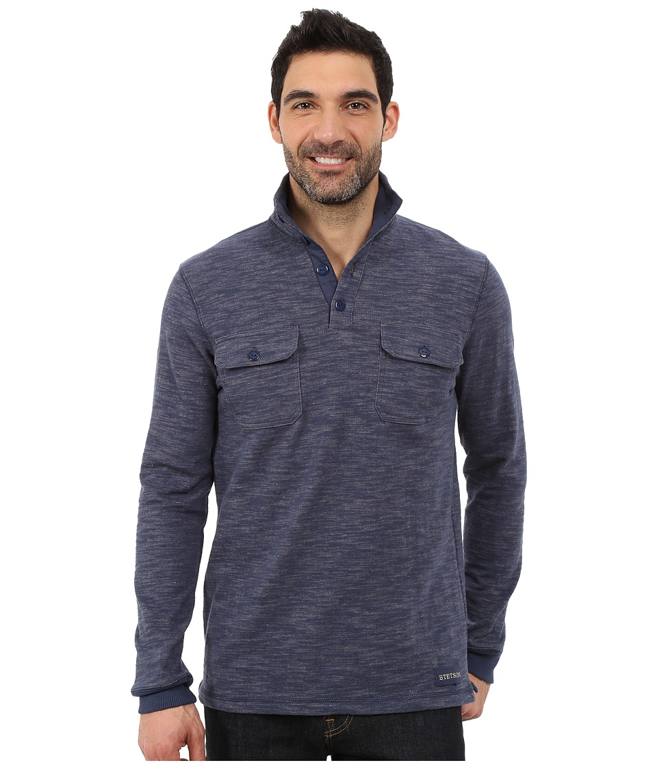 Stetson - Bamboo Look Knit Pullover (Blue) Men's Clothing