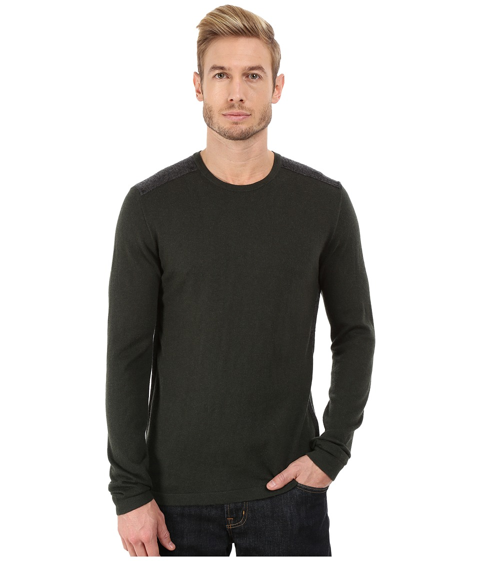John Varvatos Star U.S.A. - Long Sleeve Crew Sweater with Tonal Rivet Patches Y1187R3B (Dark Fatigue) Men