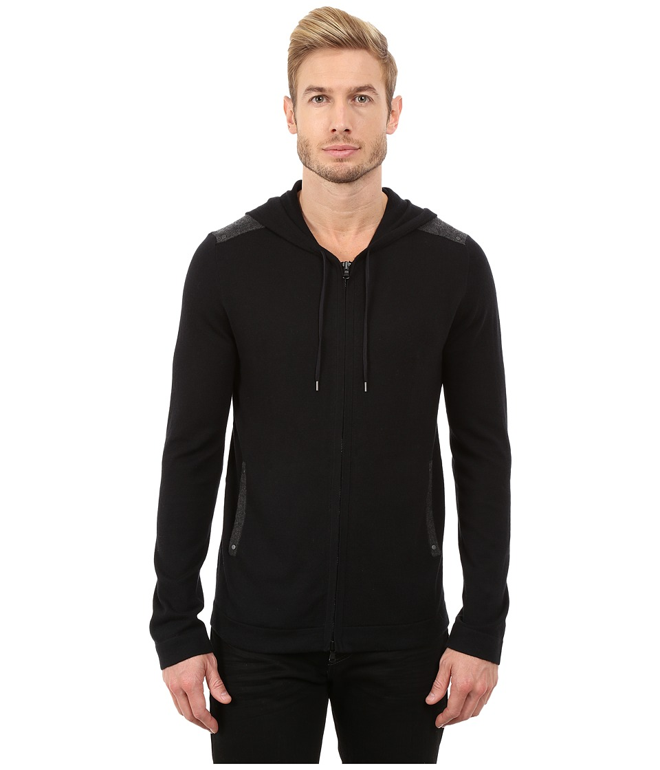 John Varvatos Star U.S.A. - Zip Front Hoodie Sweater with Tonal Rivet Patches Y1189R3B (Black) Men's Sweater