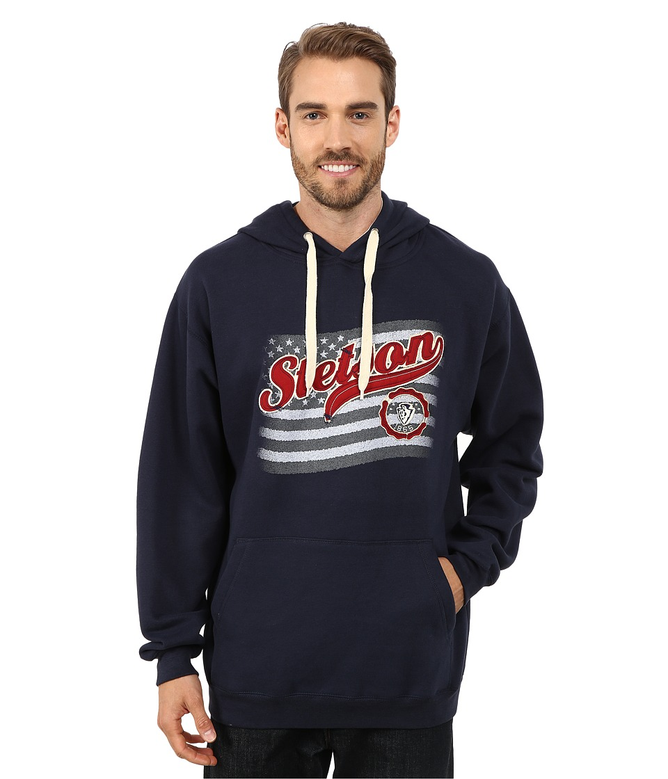 Stetson - Navy Hoodie w/ Flag USA (Blue) Men