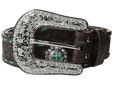 M&F Western - Nocona Embossed Laced Belt (Brown) Women's Belts