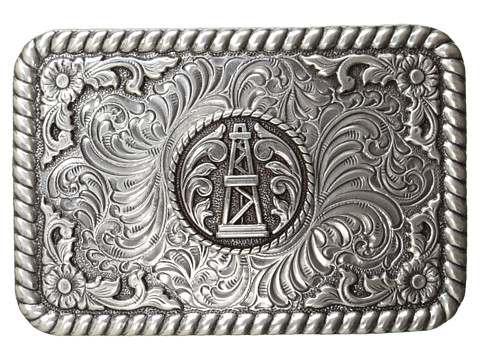 M&F Western - Rope Edge Oil Derrick Rectangle Buckle (Silver) Men's Belts