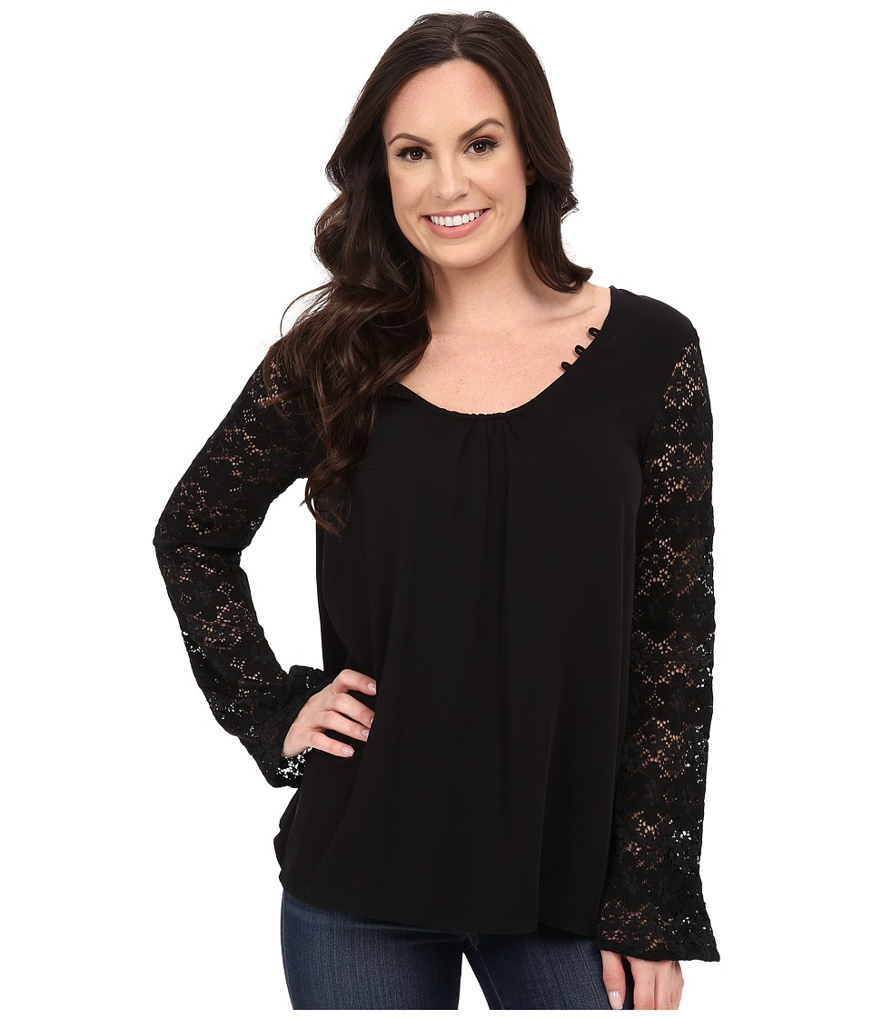 Stetson - Rayon Peasant Top (Black) Women's Blouse