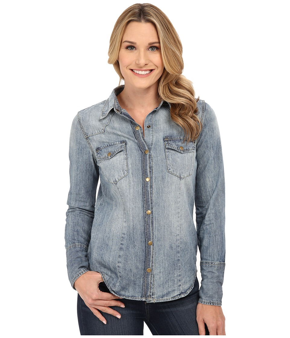 Stetson - Denim Long Sleeve Shirt (Blue) Women's Long Sleeve Button Up