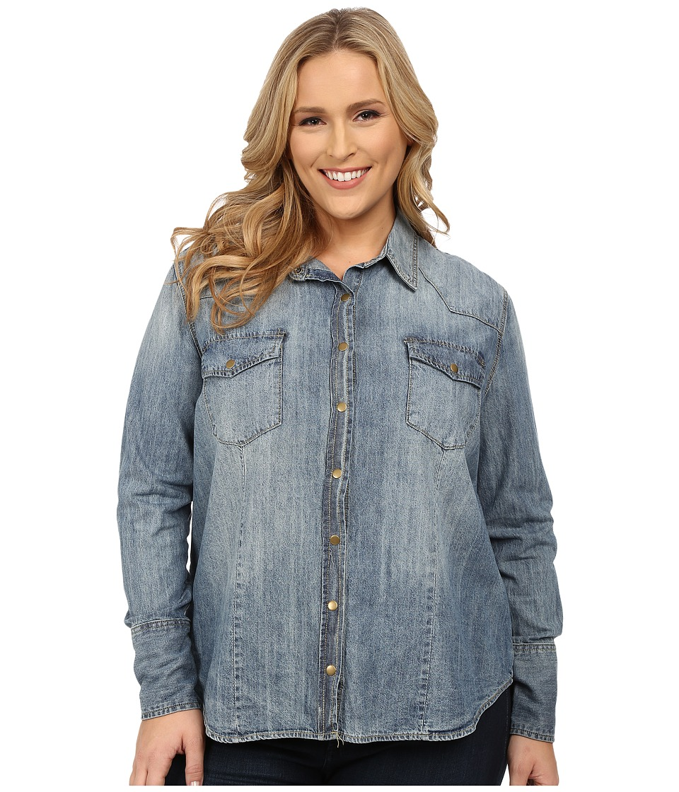 Stetson - Plus Size Denim Long Sleeve Shirt (Blue) Women's Clothing