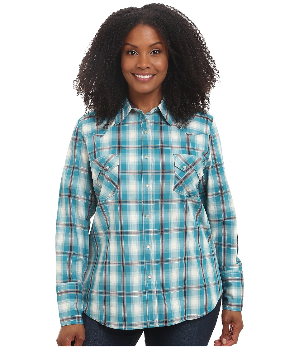 Roper - Plus Size 0049 Box Plaid (Blue) Women's Clothing
