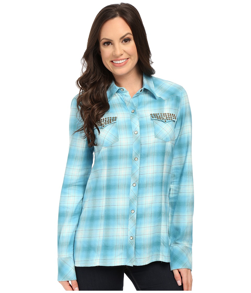 Stetson - Turquoise Plaid Brushed Twill (Blue) Women's Long Sleeve Button Up