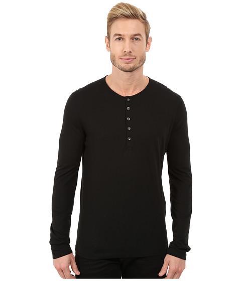 John Varvatos Star U.S.A. - Long Sleeve Knit Henley with Shoulder Seam Details K2217R3L (Black) Men