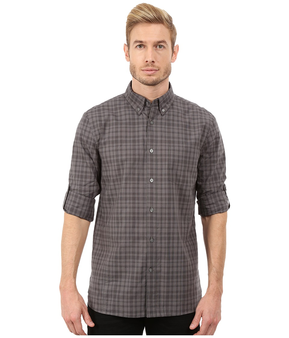 John Varvatos Star U.S.A. - Roll Up Sleeve Shirt w/ Button Down Collar W387R3L (Licorice) Men's Long Sleeve Button Up