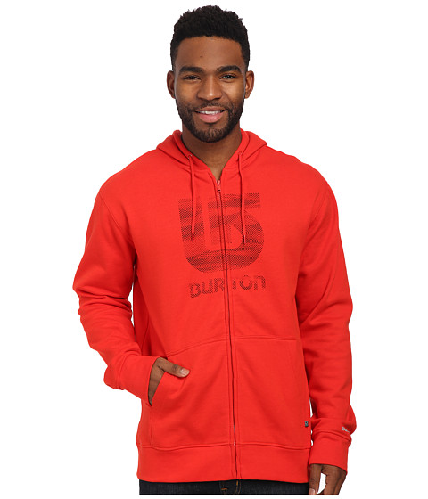 Burton - Logo Vertical Full Zip Hoodie (Fiery Red) Men's Sweatshirt