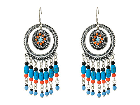 M&F Western - Dreamcatcher Drop Earrings (Silver/Blue) Earring