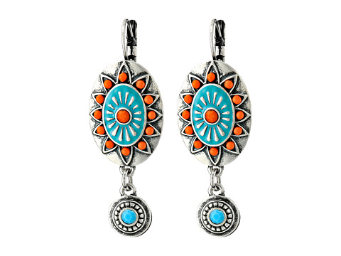 M&F Western - Oval Concho Drop Earrings (Turquoise/Red) Earring