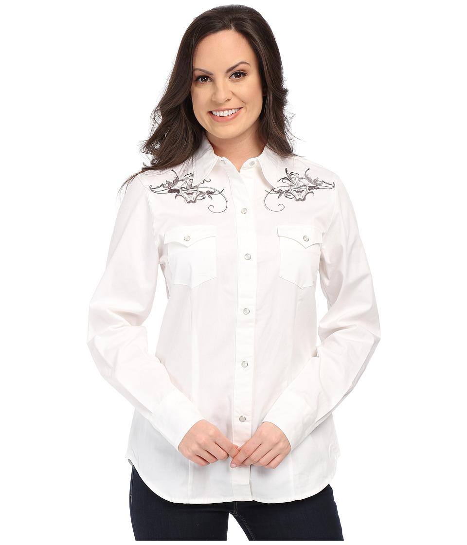 Roper - 0068 Ornate Swirl (White) Women's Long Sleeve Button Up