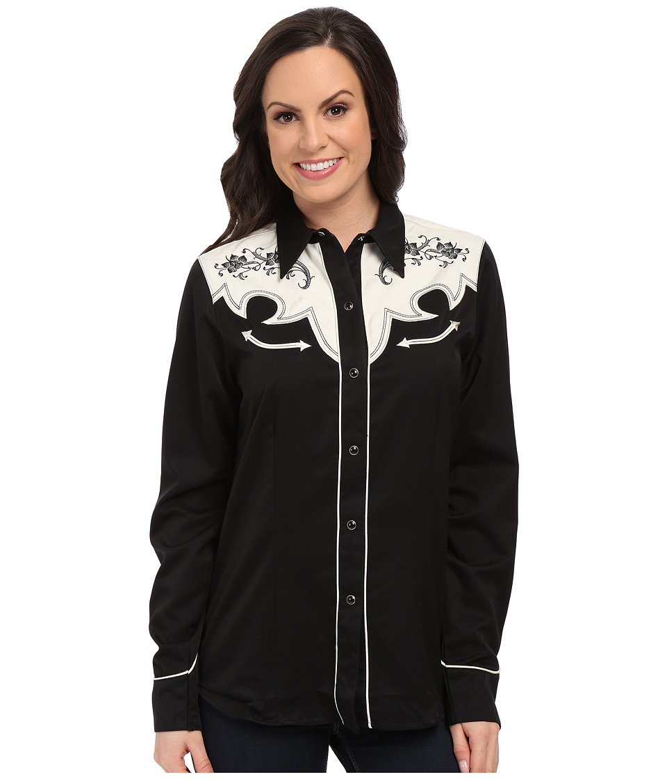 Roper - 0074 Vintage Yoke Two-Tone (Black) Women's Long Sleeve Button Up