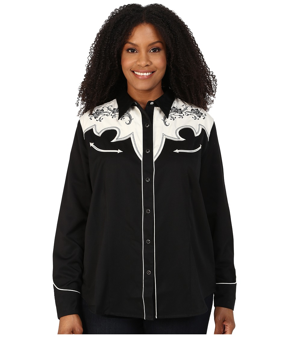 Roper - Plus Size 0074 Vintage Yoke Two-Tone (Black) Women's Long Sleeve Button Up