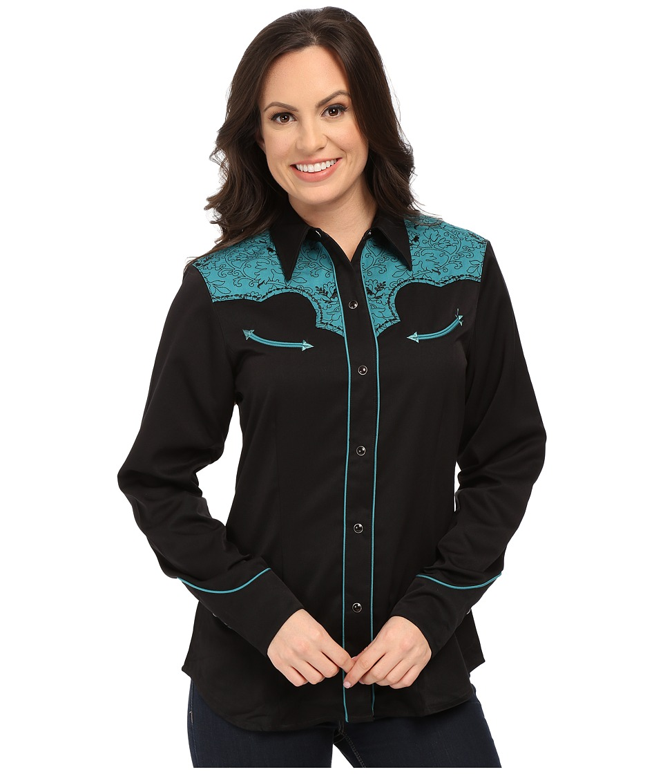 Roper - 0066 Western Vine Two-Tone (Black) Women's Long Sleeve Button Up