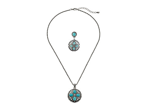 M&F Western - Inset Stone Concho Pendant Necklace/Earrings Set (Silver/Turquoise) Jewelry Sets