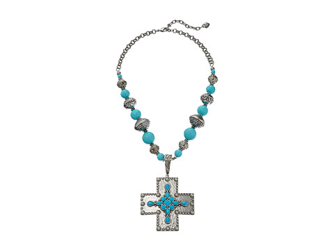 M&F Western - Center Stones Cross Necklace/Earrings Set (Turquoise/Silver) Jewelry Sets