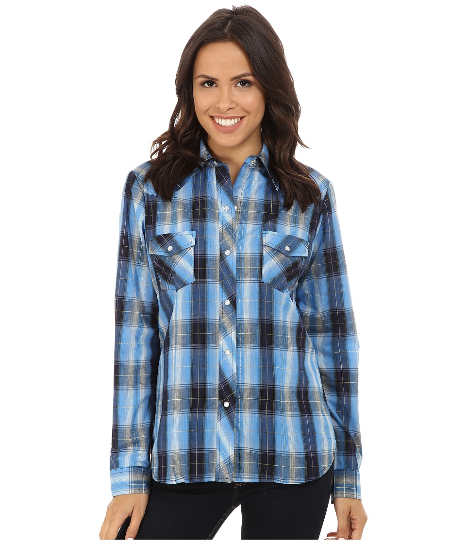 Roper - 0101 Blues Plaid (Blue) Women's Long Sleeve Button Up