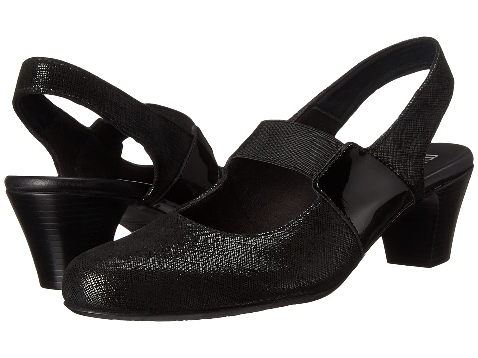 Munro - Ella (Black Crosshatch) Women's Maryjane Shoes