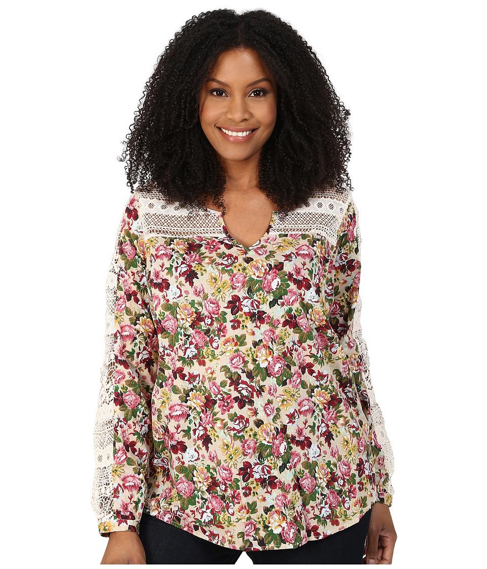 Roper - Plus Size 9903 Printed Cotton Lawn Peasant Blouse (Red) Women's Blouse