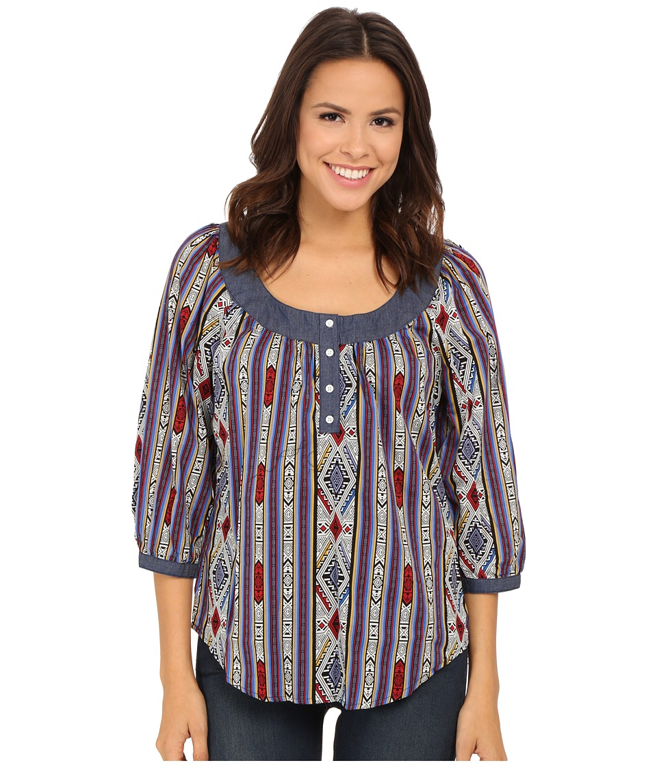 Roper - 9903 Printed Cotton Lawn Peasant Blouse (Blue) Women's Blouse