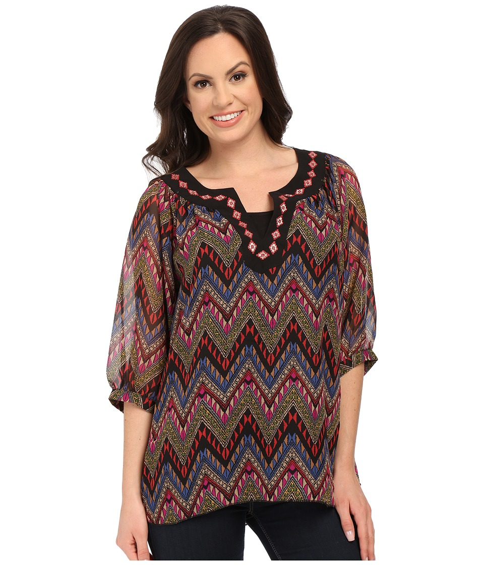 Roper - 9905 Aztec Printed Georgette Peasant Top (Black) Women's Blouse