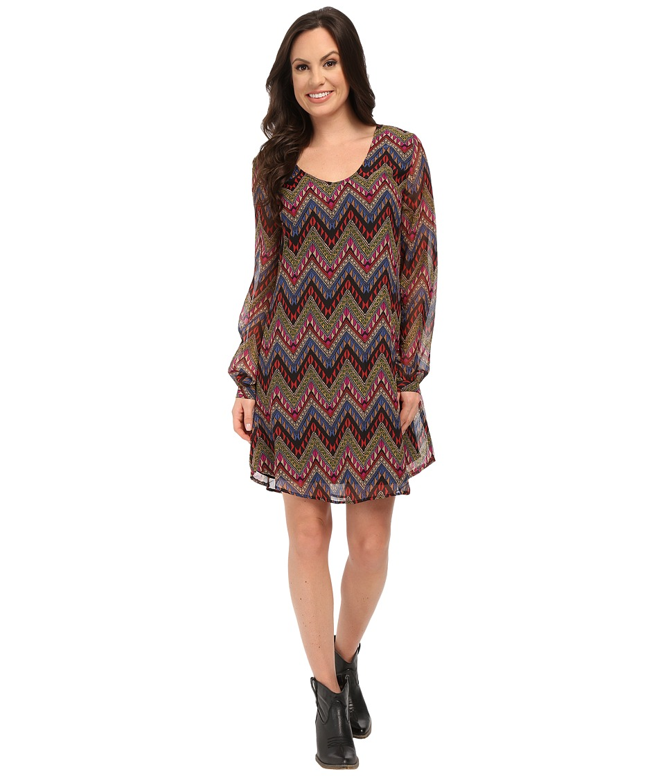 Roper 9905 Aztec Printed Georgette A-Line Dress (Black) Women